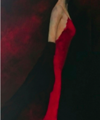 Vrouw in rode jurk org
